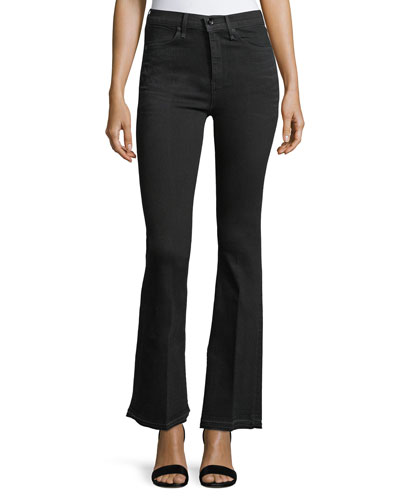 Bella Slim Flared Jeans with Slit Hem, Worn Black