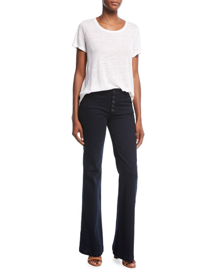 Genevieve Button-Front Jeans