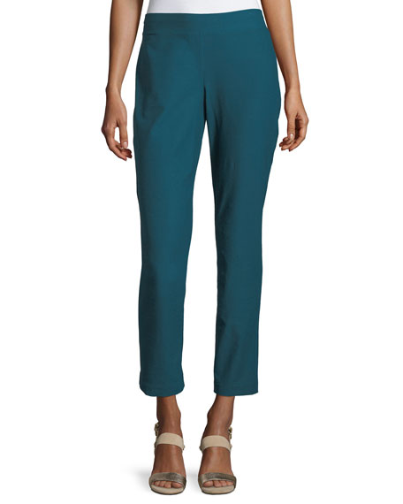 Eileen Fisher Washable Stretch-Crepe Ankle Pants, Plus Size
