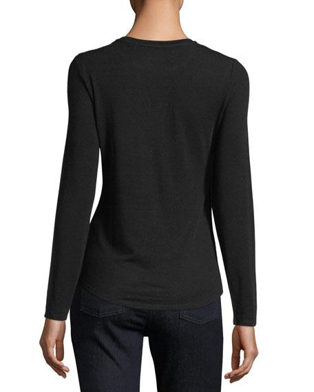 Long-Sleeve Crewneck Knit Top