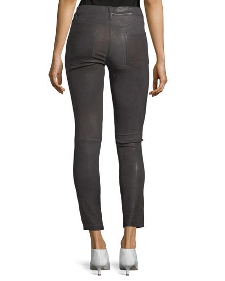 Le High Skinny-Leg Leather Pants with Slit Hem