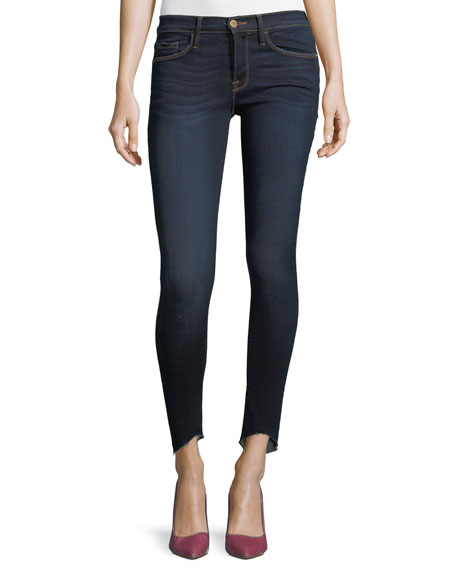 Le Skinny de Jeanne Low-Rise Jeans w/ Raw-Edge Hem Frame Denim