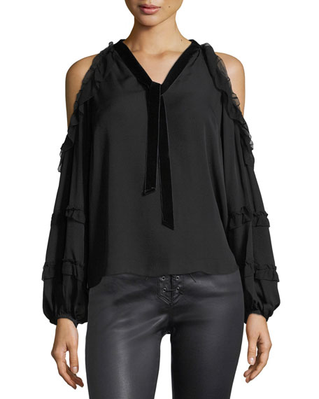 Cold-Shoulder Chiffon Blouse w/ Velvet Ties