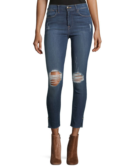 FRAME Le High Skinny Distressed Crop Raw-Edge Jeans