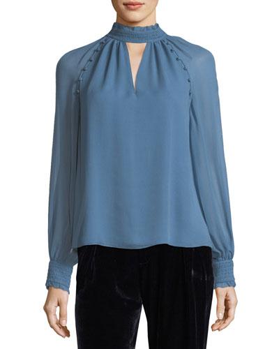 Rebel Mock-Neck Long-Sleeve Silk Blouse