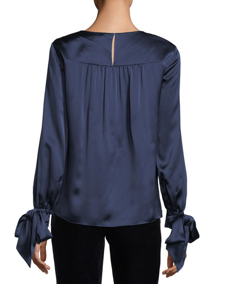 Dennis Round-Neck Cutout Satin Top