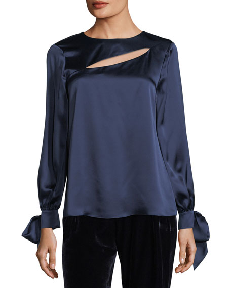Parker Dennis Round-Neck Cutout Satin Top