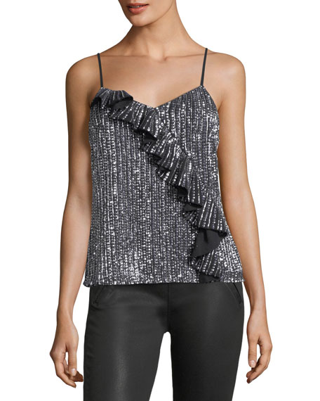 Justine Sequined Camisole Top w/ Ruffled Frill