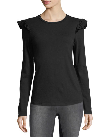 Ruffle Crewneck Long-Sleeve Cotton Top