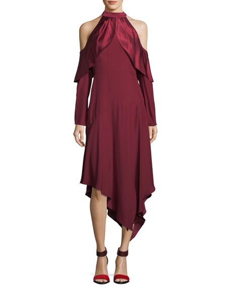 Tanya Cold-Shoulder Silk A-Line Midi Dress
