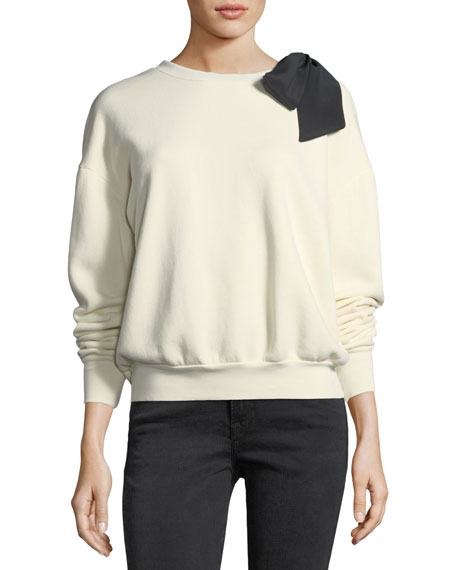 FRAME Crewneck Long-Sleeve Cotton Sweatshirt w/ Bow Detail
