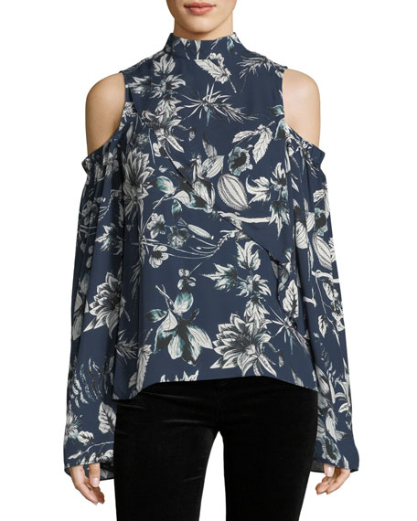 Lulu Mock-Neck Cold-Shoulder Floral-Print Silk Blouse