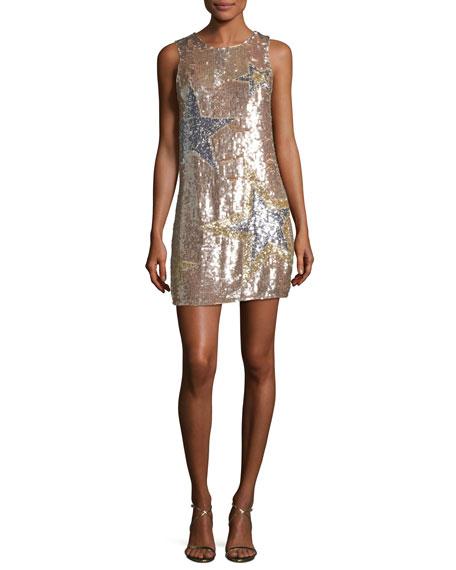 Parker Allegra Sleeveless A-line Sequined Cocktail Dress