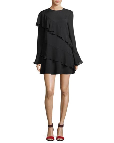 Parker Evony Crewneck Long-Sleeve Ruffled A-Line Dress