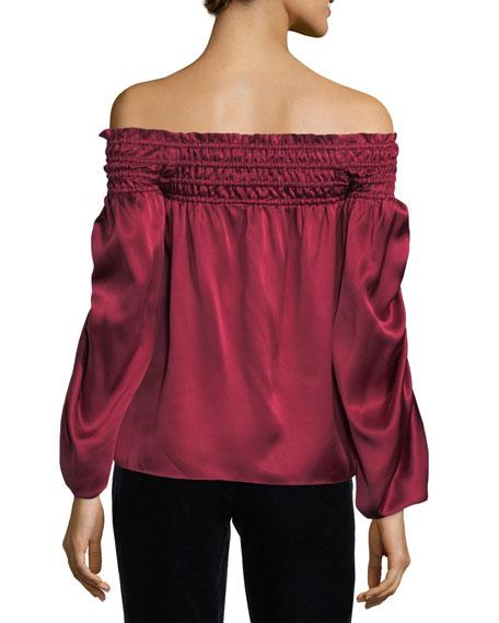 Valentino Off-the-Shoulder Silk Satin Blouse