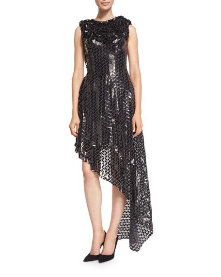Paillette-Appliqué Asymmetric-Hem Cocktail Dress, Black