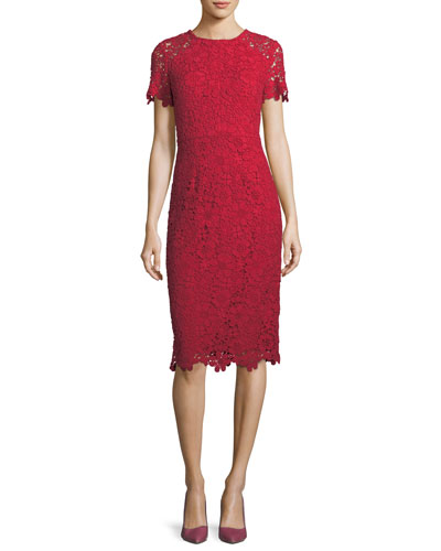 Scalloped Short-Sleeve Floral Lace Sheath Dress