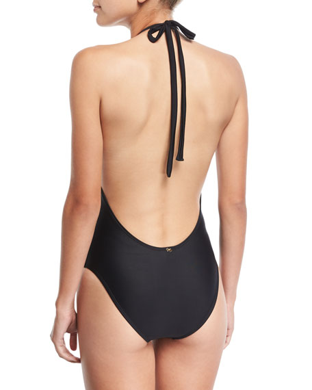 Plunging Lace One-Piece Swimsuit