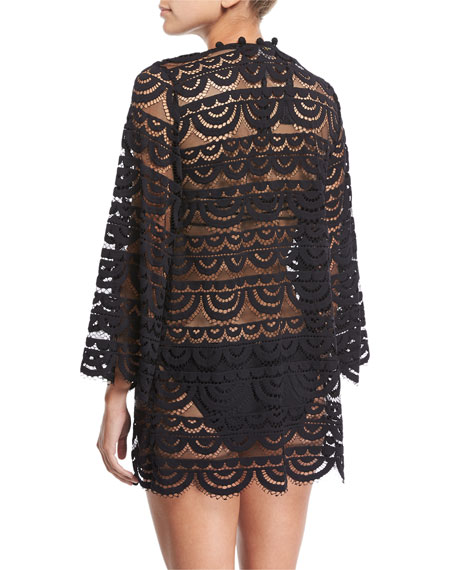 Open-Front Pompom Lace Kimono Coverup, One Size