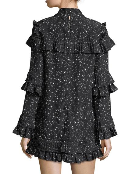 Diamond-Print Mock-Neck Ruffled Silk Dress