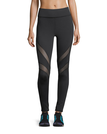 Michi Psyche Full-Length Performance Leggings with Mesh Stripes