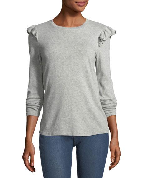 FRAME Ruffle Crewneck Long-Sleeve Cotton Top, Gray