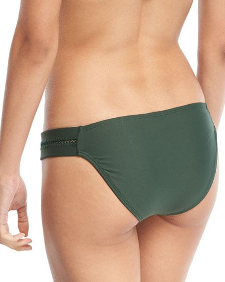 Tab Stitch-Detail Swim Bikini Bottom, Envy