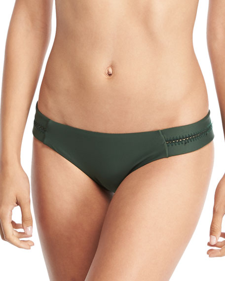 PilyQ Tab Stitch-Detail Swim Bottom, Envy