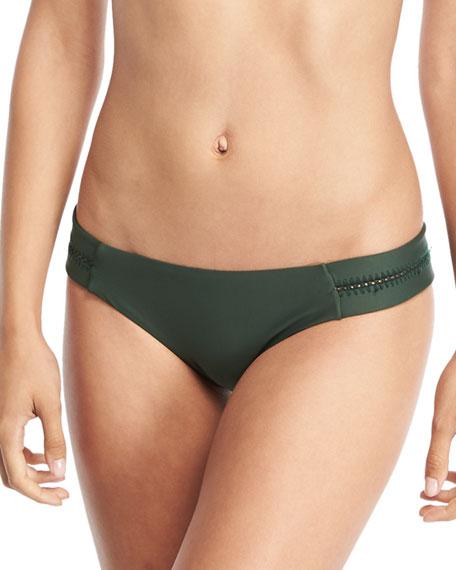 PilyQ Tab Stitch-Detail Swim Bottom, Envy and Matching