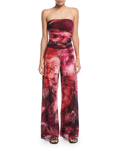 Strapless Tulle Floral-Print Jumpsuit Coverup