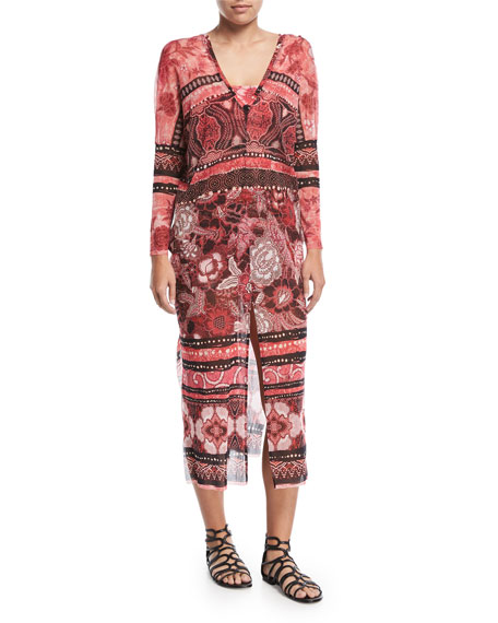 Fuzzi Mixed-Print Long-Sleeve Tulle Caftan Coverup