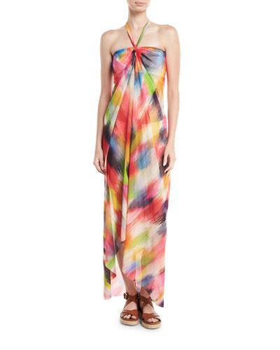 Semisheer Tulle Halter Coverup Dress