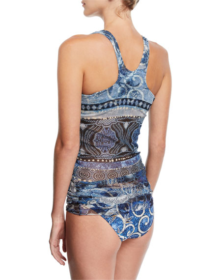 Mixed-Print Two-Piece Tankini Swimsuit, Blue