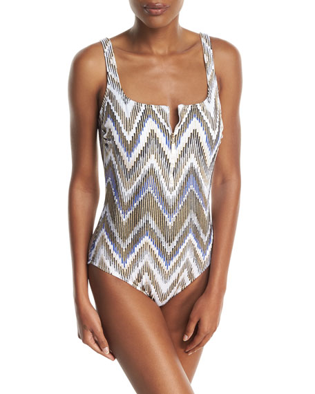 Gottex Golden Sand Square-Neck One-Piece Swimsuit