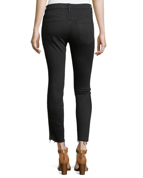 Looker High-Waist Ankle Fray Skinny-Leg Jeans w/ Racing Stripes