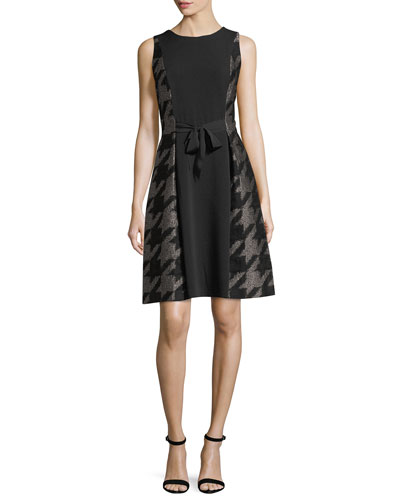 Large Houndstooth Self-Tie Cocktail Dress