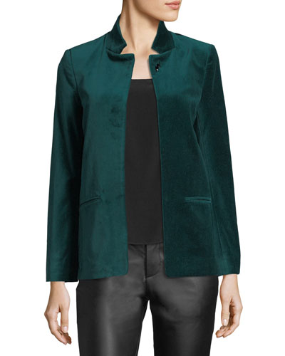 Volly Open-Front Velour Blazer