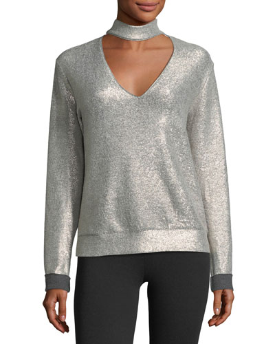 A-List V-Neck Metallic Top