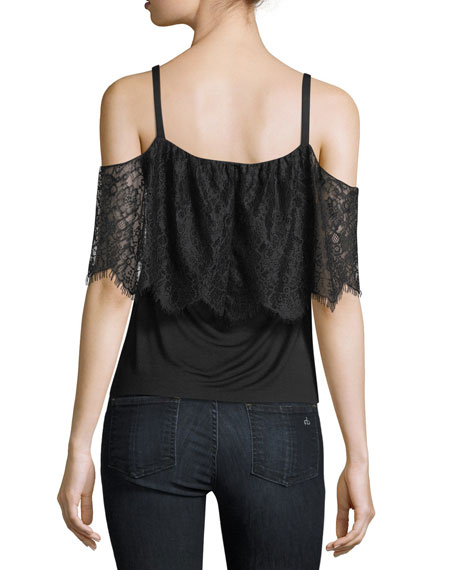 Montage Cold-Shoulder Top with Lace Overlay
