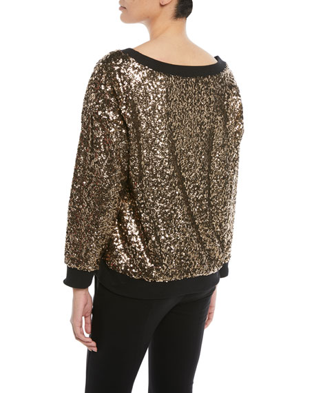 Disco Sequined Pullover Sweatshirt
