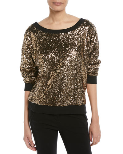 Disco Sequined Pullover Sweatshirt