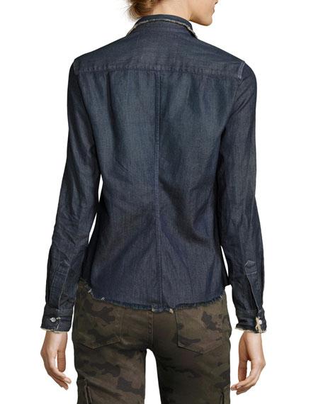 Barry Frayed Denim Button-Down Shirt