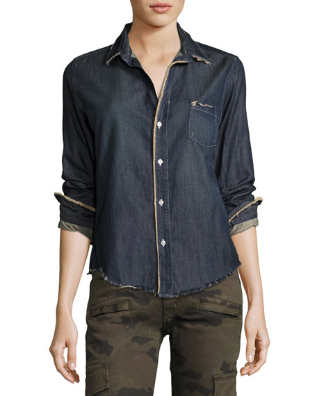 Frank & Eileen Barry Frayed Denim Button-Down Shirt