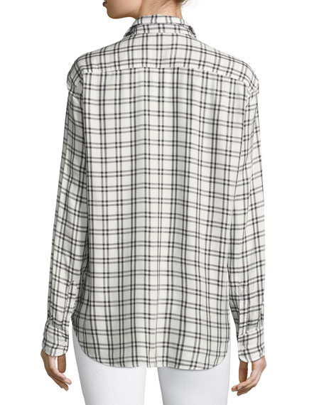 Eileen Grid-Print Long-Sleeve Button-Front Shirt
