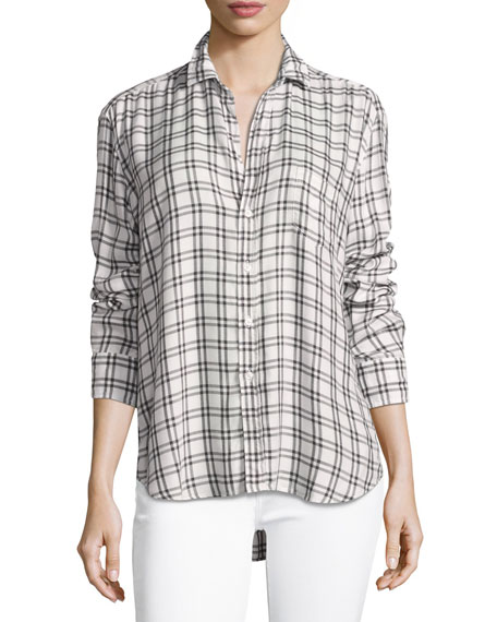Frank & Eileen Eileen Grid-Print Long-Sleeve Button-Front Shirt