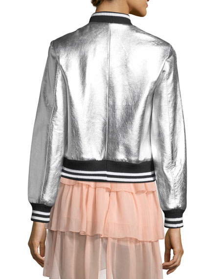 Demia Leather Crop Bomber Jacket