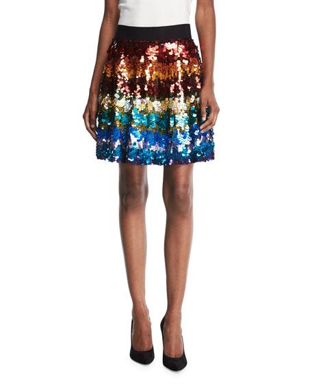 Alice + Olivia Blaise Embellished Trapeze Skirt