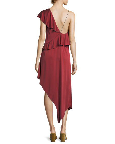 All You Need Is Love Asymmetric One-Shoulder Dress