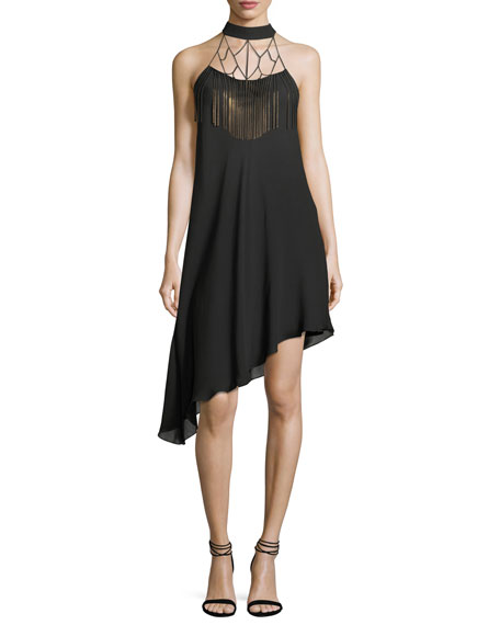 Lone Woman Caged-Yoke Asymmetric Cocktail Dress