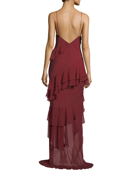 Passing the Time Asymmetric Ruffle V-Neck Gown